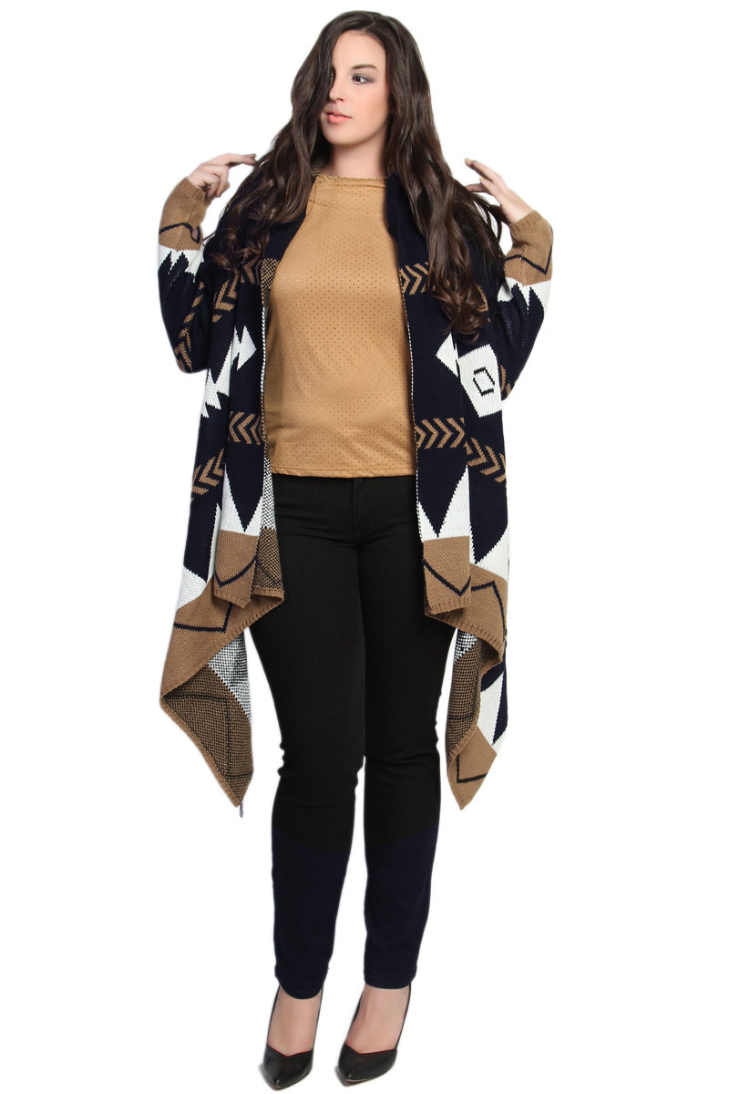 Fantastic tribal print long cardigan sweater in cream, tan, black, and brown. Pockets for convenience and a waist tie for a more finished look if desired. Pair with jeans, a classic tee, and ankle boots for a chic & casual weekend look.