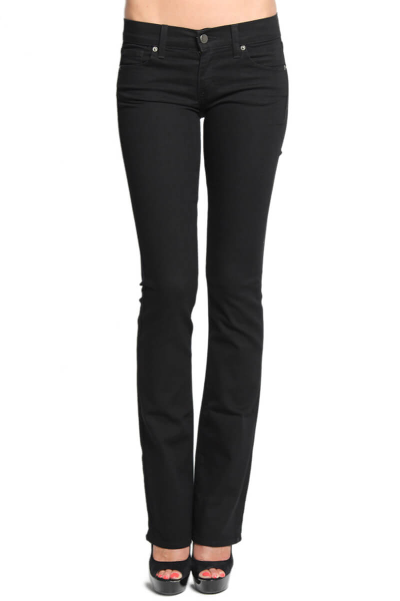 "MOGAN Basic Black Slim BOOTCUT JEANS 33"" Leg Stretch Flare ..."