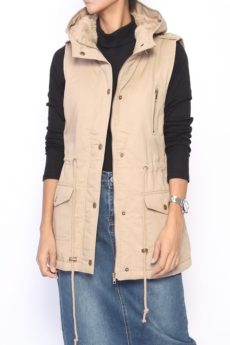 Themogan Women S Faux Fur Lined Sleeveless Parka Hooded